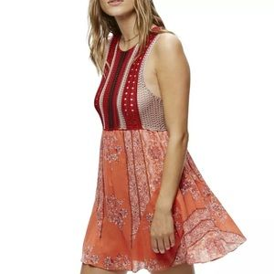 free people katie's mini red colorful knit dress L